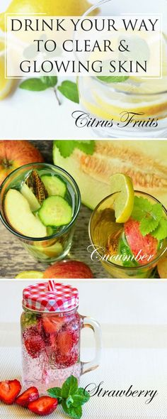 DIY Beauty Recipes | Adding the right fruits, vegetables and herbs to your water can begin to improve your skin on a cellular level and help you achieve the clear, glowing skin you're after. Click here to learn detox water recipes required for clear, glowing skin http://www.purefiji.com/blog/drink-clear-glowing-skin/ | Natural Beauty | Acne Tips