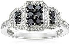 Sterling Silver 12cttw Black and White Diamond  Twisted Ring Size 8 >>> You can find more details by visiting the image link.