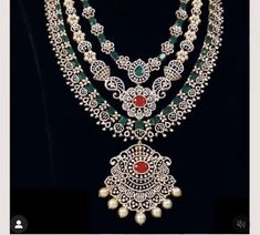 Bead Jewellery, Diamond Jewellery, Gold Designs, Necklace Designs, Diamond Pendant, Indian Jewelry, Bridal Jewelry, Antique Jewelry, Layers