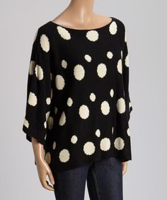 Another great find on #zulily! Black & White Polka Dot Sweater by staccato #zulilyfinds