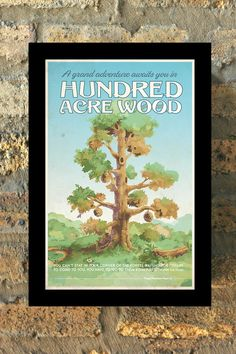 HUNDRED ACRE WOOD Winnie The Pooh Travel Poster Vintage Print Wall Art House Warming New Apartment