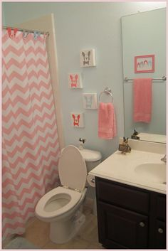 """My daughter has been asking for a """"girl bathroom"""" for a couple of years now. When we moved into our home almost 5 years ago, we . Teen Bathrooms, Small Bathroom, Deck Flooring, Boston Terrier Love, Boston Terriers, 10 Year Old Girl, Relaxing Bath, Home Spa, Bedroom Decor"""