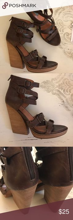 Saks Fifth Ave . Cute Sandals.....heel 4 1/2 inches high. They say size 38, but I'm a solid size 7. One shoe is missing the label.....other than that they're in great shape. gray-Saks 5th Shoes Heels