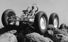 The MTA, a prototype lunar rover. It is controlled with a joystick controller on the right side. The GM Research Labs at the Tech Center donated the same type controller used on the Firebird III.
