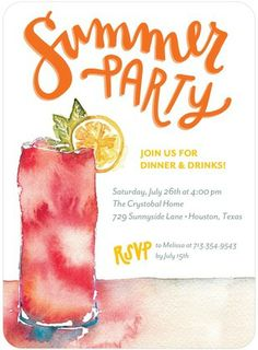 Summer Spills - Party Invitations - Petite Alma - Persimmon - Orange | www.TinyPrints.com