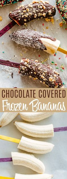 Chocolate Covered Frozen Bananas - Frozen bananas dipped in chocolate and sprinkled with nuts, shredded coconut, and sprinkles. They are easy to make and they are a perfect snack for kids and adults to enjoy on a hot summer day. Frozen Banana Recipes, Frozen Desserts, Frozen Treats, Summer Desserts, Easy Desserts, Dessert Recipes, Frozen Fruit, Frozen Banana Bites, Healthier Desserts