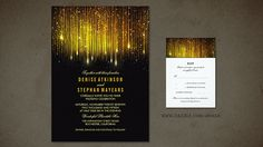 Elegant and romantic black and gold wedding invitation with string lights, glitter and gold foil confetti. Starry glamour shabby chic wedding invitation for vintage yet modern wedding themes. Match...