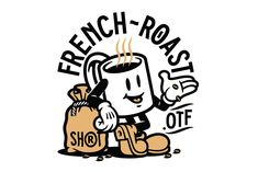 Introducing my font French-Roast a typography inspired by the antique coffee labels. Character Illustration, Digital Illustration, Graphic Illustration, 1930s Cartoons, Cartoon Logo, Badges, Vintage Cartoon, Vintage Logos, Retro Logos