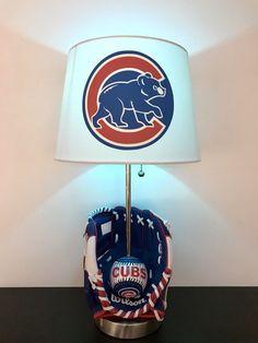 ea7b91219c5 Chicago Cubs lamp Baseball Light Baseball Decor MLB Cubs Decor