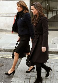 Family occasion: Kate's mother Carole Middleton and sister Pippa, leave the gallery after viewing the new portrait