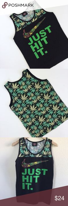 Just Hit It Tee Black and green unisex tee. Size small, says Just Hit It on the front with weed leaves on the back. Excellent condition, washed not worn. Received as a gift, not really my style but someone else can enjoy it!   🚫No trades 🚫No modeling 🚫No 🅿️aypal 🚫No Merc ✅Posh Rules ✅Use Offer Button ✅Bundle for 15% off Urban Outfitters Tops Tank Tops