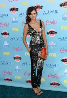 Best Dressed at Teen Choice Awards 2013 - Nina Dobrev in J. Mendel top and pants with Dolce & Gabbana shoes