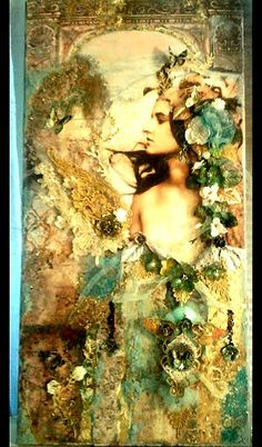 Tall, elegant mixed-media canvas by Rhue Chantal.  Lush layers of painting, glazing, dimensional stenciling and collage combine in this illuminated work! The inclusion of laces, hand painted with mediums, really adds the texture I wanted in this piece. This canvas is 18 x 40.