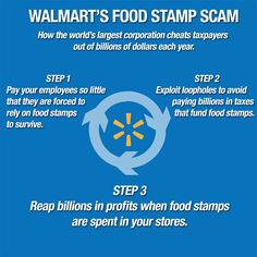 Wal-Mart welfare scam... their low wages forcing employees to take OUR tax dollars to save Walwart from paying livable wages.