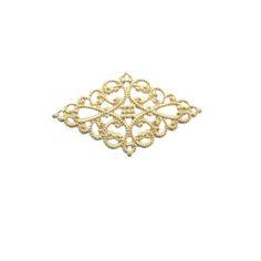 Gold Plated Diamond Filigree, 26x45mm