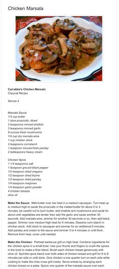Carrabas Chicken Marsala