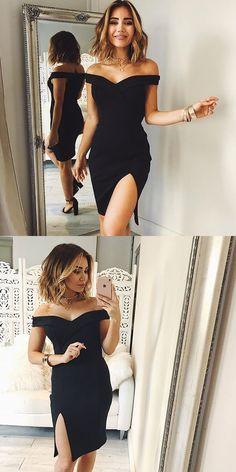 Off shoulder homecoming dress,black homecoming dress,satin homecoming dress,split homecoming dress,short prom dress