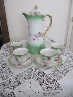Antique Chocolate Pot Vintage Tea Pot Cup & by GoldenDreamFinds, $50.00