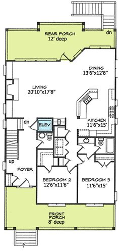 Plan 15035NC Narrow Lot Beach House Plan Kitchens Beach and House