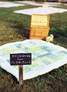 picnic blanket reserved for the bride + groom | Jamie Clayton #wedding