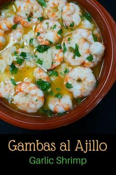 Recipe for Gambas Al Ajillo (Shrimp in Garlic Sauce). This is a traditional Spanish preparation that is delicious and a great part of any tapas menu. Don't forget the crusty bread to soak up the delicious garlicky sauce. Tapas Recipes, Sauce Recipes, Fish Recipes, Seafood Recipes, Cooking Recipes, Healthy Recipes, Garlic Recipes, Drink Recipes, Shrimp In Garlic Sauce