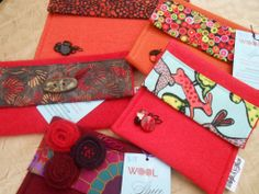 More fun wool and cotton fabric pouches! Love these reds and oranges.