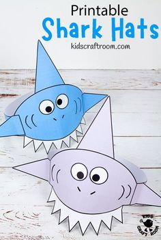 This Shark Hat Craft is so cool! The printable shark craft template comes in 3 fun colours and B/W. It's the perfect shark craft for Summer and Shark Week! #kidscraftroom #kidscrafts #sharkcrafts #sharks #sharkweek #sharkactivities #printablecrafts Summer Crafts For Toddlers, Animal Crafts For Kids, Craft Projects For Kids, Easy Crafts For Kids, Toddler Crafts, Crafts To Make, Craft Ideas, Shark Activities, Craft Activities