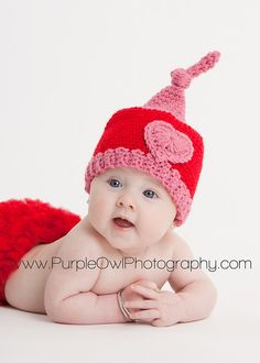 Valentine Gnome Hat - Any Color - Any Size!  I also sell the pattern:  http://www.ravelry.com/purchase/desert-diamond-crochet/87515