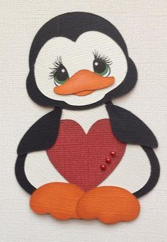 Valentine Penguin Holding Heart Paper Piecing by My Tear Bears Kira Punch Art Cards, Penguin Art, Paper Piecing Patterns, Paper Hearts, Kids Cards, Scrapbook Cards, Animal Drawings, Paper Dolls, Applique