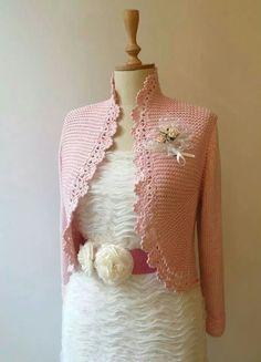 Knit with crochet edge bolero Crochet Coat, Crochet Cardigan, Filet Crochet, Crochet Clothes, Crochet Magazine, Crochet Fashion, Baby Knitting Patterns, Cardigans For Women, Knitted Hats