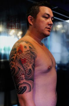 Koi tattoo (key coverup idea?)  This body looks comfy to me... Lol! Doesn't look too high maintenance...