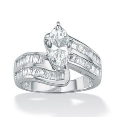 Palm Beach Jewelry PalmBeach 4. TCW Marquise-Cut Cubic Zirconia Platinum over Sterling Silver Engagement/Anniversary Ring Classic CZ