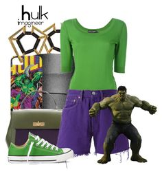 """Hulk (Age of Ultron)"" by claucrasoda ❤ liked on Polyvore featuring Vince Camuto, Dolce&Gabbana, Bally, Levi's and Converse"