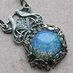 Lovebirds and Blue Opal Necklace by ElvesGarden on Etsy, $36.00