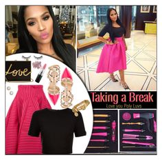 """""""Taking a break dear Poly Luvs..."""" by melindairenes ❤ liked on Polyvore featuring Maje, Ted Baker, Valentino, Lanvin, Henri Bendel, MAC Cosmetics, Bare Escentuals, Nordstrom, LoveYouAll and hugsandkisses"""