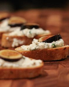 Crostini with Herbed Ricotta and Fresh Figs - The Yellow Table Fig Recipes, Cooking Recipes, Healthy Recipes, Fig Appetizer, Appetizers, Yellow Table, Fresh Figs, Pumpkin Spice Latte, Prosciutto