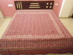 #Handmade ajrakh #kantha #bedspread, Indian ajrakh print kantha #blanket