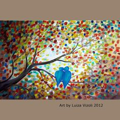 Fantasy Lovebirds Tree Branches Whimsical Painting by LUIZAVIZOLI