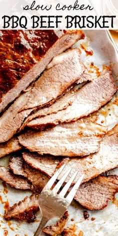 This Slow Cooker Barbecue Beef Brisket is as tender, juicy, and flavorful as it gets! It's an easy, melt-in-your-mouth beef recipe, and a festive beef dinner idea for the Holidays. Also works great for busy families that are always on-the-go! #slowcookerbrisket #beefbrisketrecipe #howtocookbrisket