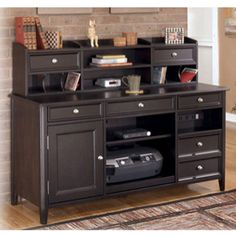 Nice Ashley Carlyle Cadenza With Short Desk Hutch   The Sleek Design Of The  Contemporary Styled Carlyle