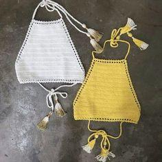 Crochet Swimwear crochet halter tops Discovred by : Chiêu Firefly Crochet Crochet Halter Tops, Top Crop Tejido En Crochet, Crochet Bikini Top, Crochet Bikini Pattern, Swimsuit Pattern, Crochet Diy, Mode Crochet, Crochet Fringe, Crochet Clothes