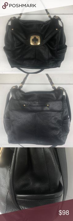 e3a18ebc73 B. Makowsky Black Leather Turnlock Flap Handbag B Makowsky Black Leather  Flap Convertible Crossbody Satchel