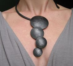 Necklace | Becky Little. Waxed iron.