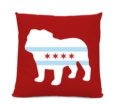 Chicago Flag Bulldog Pillow - Chicago Home Decor - Bulldog pillow - dog breed silhouette pillow - dog home decor - Dog Pillow by sophisticatedpup on Etsy