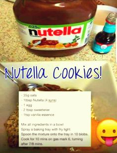Slimming world Nutella cookies: now with of oats astuce recette minceur girl world world recipes world snacks Slimming World Cookies, Slimming World Deserts, Slimming World Puddings, Slimming World Tips, Slimming World Recipes Syn Free, Slimming World Oat Biscuits, Slimming World Taster Ideas, Baked Oats Slimming World, Laura Lee