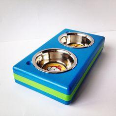 BRICK - funky - decorative - wood - handmade - pet - dog/cat bowl - dog/cat bowl holder - dog/cat bowl stand - dog/cat feeder