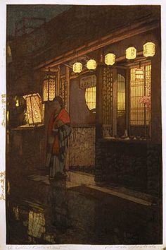A Little Restaurant  by Hiroshi Yoshida, 1933 [Amazing that this was all hand carved.  One wooden plate per colour then hand inked and printed one colour at a time.  Incredible work.]