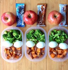 Lunch Idea: Cut Up Sweet Potato, 2 Hard boiled eggs, Broccoli, Apple  Quest Bar for a Snack!