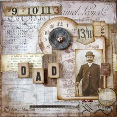 Dad ~ Tim Holtz Steampunk masculine heritage page with a list of products used.