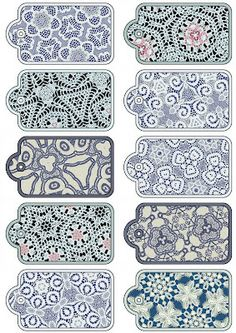 ArtbyJean - Paper Crafts: Set of ten Scrapbooking Tags on a Digital Collage Sheet... with lace patterns in blue.